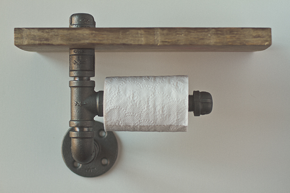 Steel pipe toilet roll holder with shelf brooklin design co